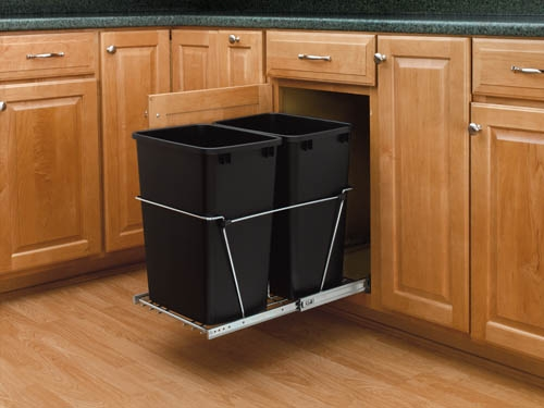 Double Bottom Mount Wire w/ Rear Basket Waste Containers (RV-18KD-18C S)